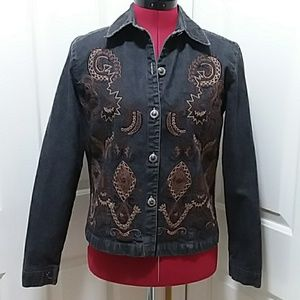 Chico's black denim jacket beaded embroidered